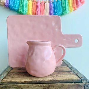 Boho Pastel Pink Pitcher & Cheese Board Ceramic
